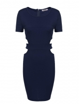 Navy blue Waist Cut Out Package Hip Bodycon Dress