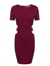 Wine red Waist Cut Out Package Hip Bodycon Dress