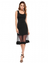 Black Sleeveless Mesh Illusion Hem Solid Dress