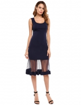 Navy blue Sleeveless Mesh Illusion Hem Solid Dress