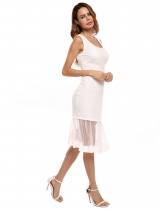 White Sleeveless Mesh Illusion Hem Solid Dress
