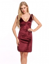 Vinho rouge Femmes V-neck Strap Sexy Sheath Velvet Dress Backless Party Club Mini