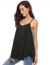 Black Sleeveless Solid Loose Asymmetrical Hem Camisoles