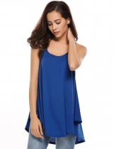 Blue Sleeveless Solid Loose Asymmetrical Hem Camisoles
