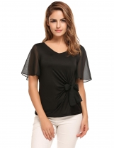 Black Bell Sleeve V-neck Solid Bow Decor Slim Blouse