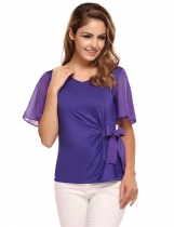 Purple Bell Sleeve V-neck Solid Bow Decor Slim Blouse