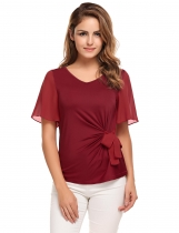 Rose red Bell Sleeve V-neck Solid Bow Decor Slim Blouse