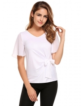 White Bell Sleeve V-neck Solid Bow Decor Slim Blouse