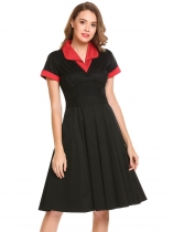 Black Short Sleeve Patchwork A-Line Dress