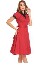 Red Short Sleeve Patchwork A-Line Dress