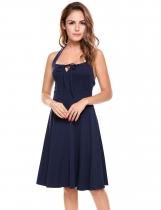 Bleu marine Femmes Casual Back Lace Up Collar sans manches Pullover Solid Pleated Dress