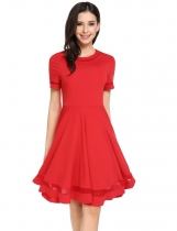 O-Neck Short Sleeve Patchwork Back Zipper Pleated Casual Dress