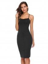 Negro Negro Mujeres Strap Spaghetti Backless mangas sin Volver Lace-Up Slim Pencil Dress