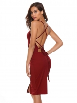 Wine red Women Backless Spaghetti Strap Sans manches Robe en mousseline à encolure dos sans