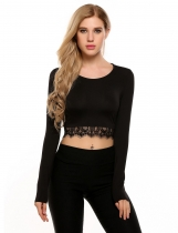 Black O-Neck Long Sleeve Patchwork Lace Trimmed Crop Tops