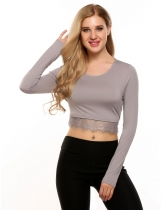 Grey O-Neck Long Sleeve Patchwork Lace Trimmed Crop Tops