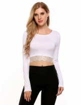White O-Neck Long Sleeve Patchwork Lace Trimmed Crop Tops