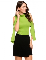 Green Solid Stand Neck Cold Shoulder Back Zipper Tops