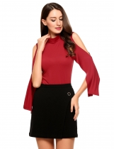 Wine red Solid Stand Neck Cold Shoulder Back Zipper Tops
