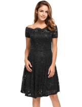 Black Short Sleeve Lace Off Shoulder Swing Solid Dress