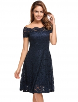 Dark blue Short Sleeve Lace Off Shoulder Swing Solid Dress
