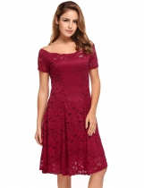 Wine red Short Sleeve Lace Off Shoulder Swing Solid Dress