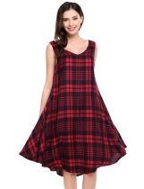 Red Sleeveless Plaid V Neck Pullover Loose Dress With Belt