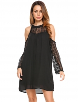 Black Lace Patchwork Cold Shoulder Chiffon Dress