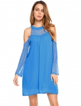 Blue Lace Patchwork Cold Shoulder Chiffon Dress
