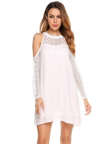 White Lace Patchwork Cold Shoulder Chiffon Dress
