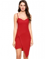 Red Femmes Casual sans manches Spaghetti Straps Party Bodycon Evening Pencil Cami Robes