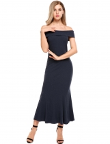 Blue Femmes Sexy Short Sleeve Solid Off Shoulder Pullover Bodycon Pencil Maxi Dress