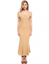 Blé Femmes Sexy Short Sleeve Solid Off Shoulder Pullover Bodycon Pencil Maxi Dress