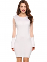 White Sexy Long Sleeve Dot Mesh Patchwork Mini Pencil Dress