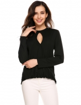 Black Long Sleeve Mock Neck Solid Cross Front Surplice Top