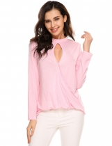 Pink Long Sleeve Mock Neck Solid Cross Front Surplice Top