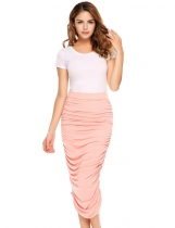 Rose golden Solid Ruched Elastic High Waist Elegant Wrap Skirt