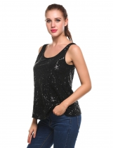 Black O-Neck Sleeveless Sequins Pullover Tank Tops