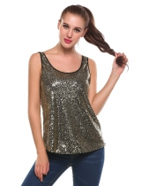 Gold O-Neck Sleeveless Sequins Pullover Tank Tops
