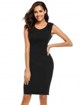 Black Sleeveless Bodycon Solid Business Work Dress