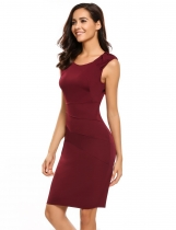 Wine red Sleeveless Bodycon Solid Business Work Dress