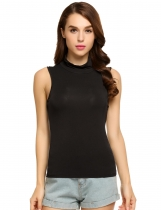 Black Turtleneck Sleeveless Stretchy Solid Slim Shaping Tank Top
