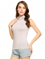 Gray Turtleneck Sleeveless Stretchy Solid Slim Shaping Tank Top