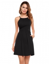 Black Spaghetti Strap Backless Solid Mini Dress