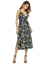 Dark blue Sleeveless Floral Belted Spaghetti Strap Split Dress