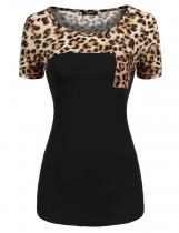 Black Round Neck Short Sleeve Leopard Patchwork T-Shirt