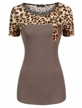Khaki Round Neck Short Sleeve Leopard Patchwork T-Shirt