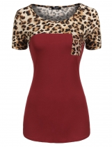 Wine red Round Neck Short Sleeve Leopard Patchwork T-Shirt