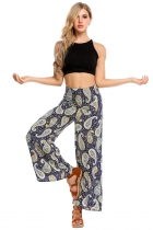 Dark blue Fold Over Waist Print Wide Leg Loose Casual Pants