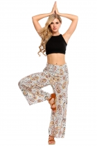 White Fold Over Waist Print Wide Leg Loose Casual Pants